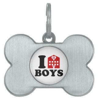 I Love Hotel Boys Pet Name Tag