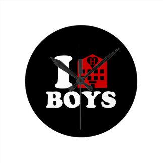 I Love Hotel Boys Round Clock