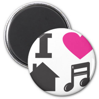 I love house music 2 inch round magnet
