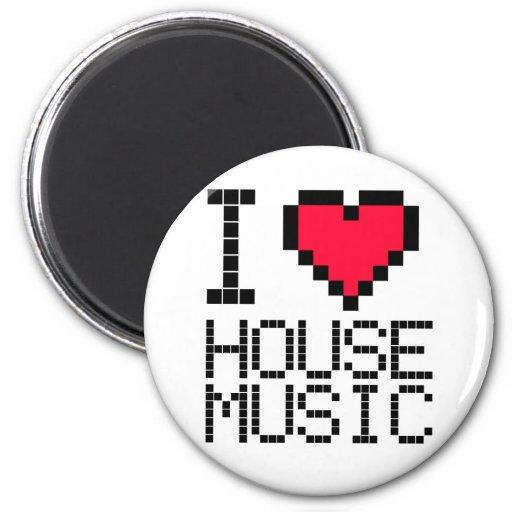I Love House Music 8Bit 2 Inch Round Magnet