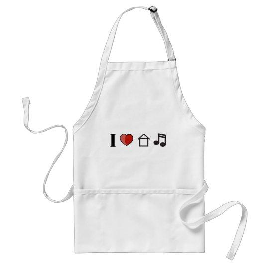 I Love House Music Adult Apron