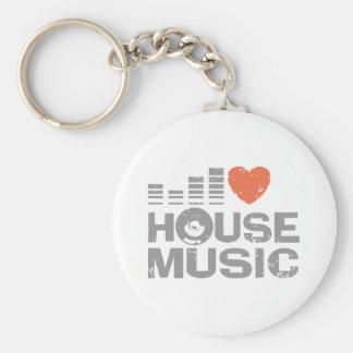 I Love House Music Basic Round Button Keychain