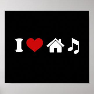 I Love House Music Black Poster   Ibiza Dancing