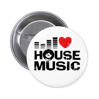 I Love House Music Pinback Buttons