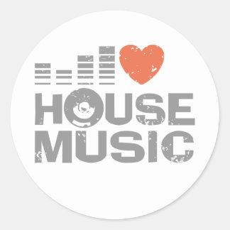 I Love House Music Classic Round Sticker