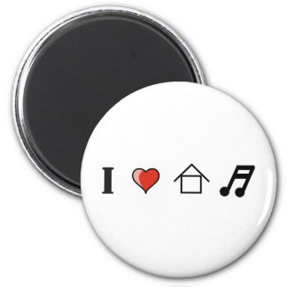 I Love House Music Club Clubbing 2 Inch Round Magnet
