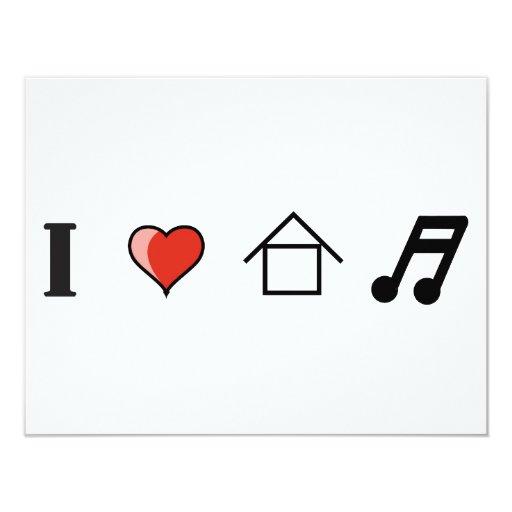 I Love House Music Club Clubbing Personalized Invites