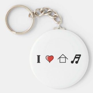 I Love House Music Club Clubbing Keychain