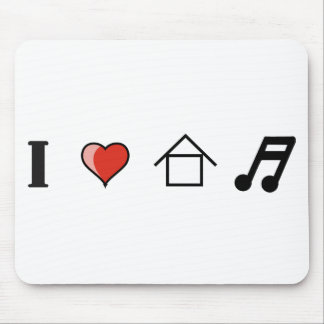 I Love House Music Club Clubbing Mouse Pad