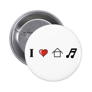 I Love House Music Club Clubbing Pinback Button