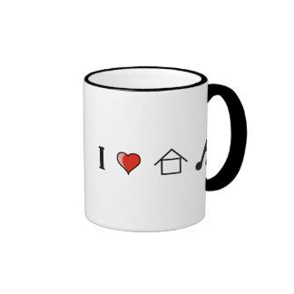 I Love House Music Club Clubbing Ringer Coffee Mug