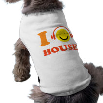 I love house music dog t-shirt with happy smiley