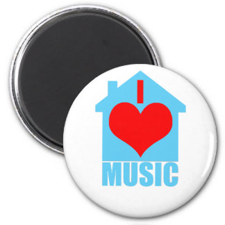 I Love House Music - Heart House 2 Inch Round Magnet
