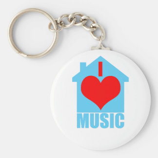 I Love House Music - Heart House Basic Round Button Keychain