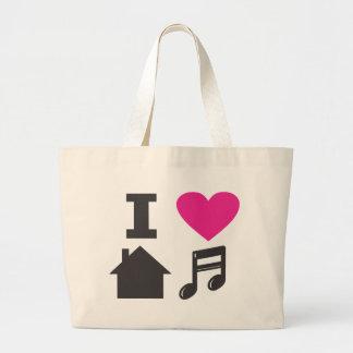 I love house music jumbo tote bag
