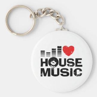 I Love House Music Key Chains