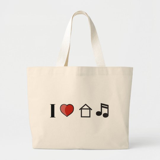 I Love House Music Large Tote Bag