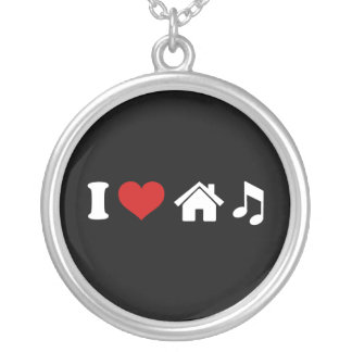 I Love House Music Round Pendant Necklace