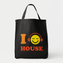 I love house music smiley face with headphones bag
