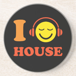 I love house music smiley face with headphones beverage coaster