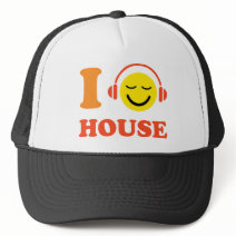 I love house music smiley face with headphones cap