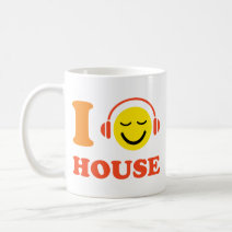 I love house music smiley face with headphones coffee cup