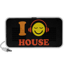 I love house music smiley face with headphones iPhone speakers