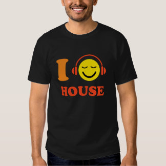I love house music smiley face with headphones tee