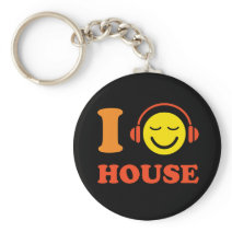 I love house music smiley with headphones keychain