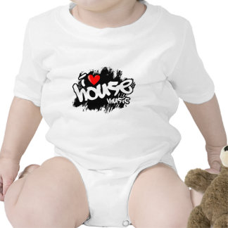 I Love House Music Baby Bodysuits