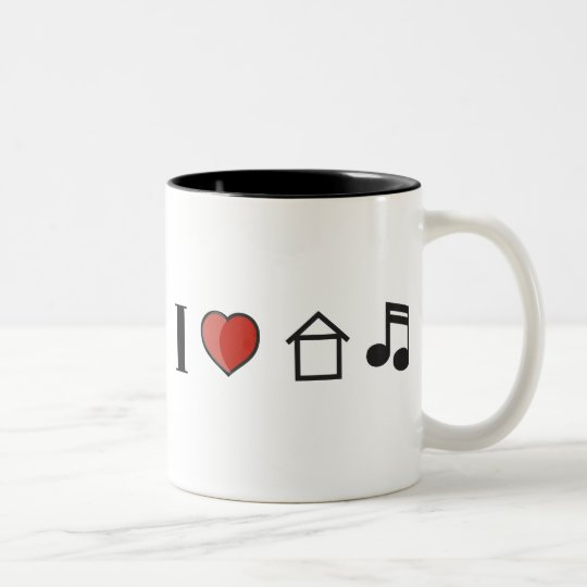 I Love House Music Two-Tone Coffee Mug