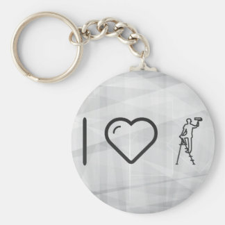 I Love House Paintings Basic Round Button Keychain