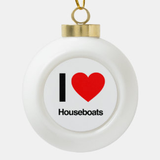i love houseboats ceramic ball christmas ornament