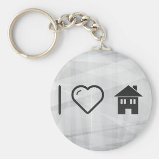 I Love Houses Basic Round Button Keychain