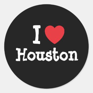 I love Houston heart custom personalized Classic Round Sticker