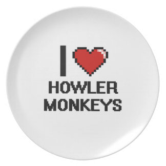 I love Howler Monkeys Digital Design Party Plate