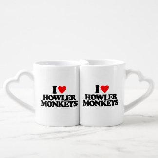 I LOVE HOWLER MONKEYS COUPLES' COFFEE MUG SET