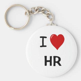 I Love HR Basic Round Button Keychain