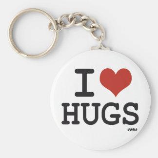 I love hugs basic round button keychain