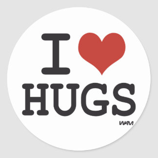 I love hugs classic round sticker