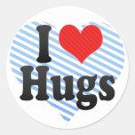 I Love Hugs Round Sticker