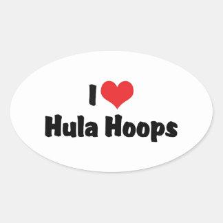 I Love Hula Hoops Oval Sticker