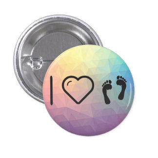 I Love Human Footprints 1 Inch Round Button
