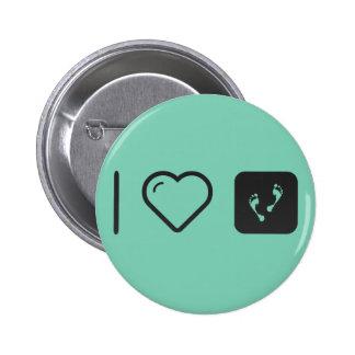 I Love Human Footprints 2 Inch Round Button