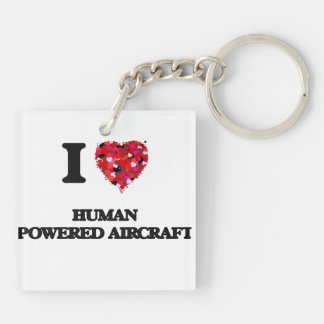 I Love Human Powered Aircraft Double-Sided Square Acrylic Keychain