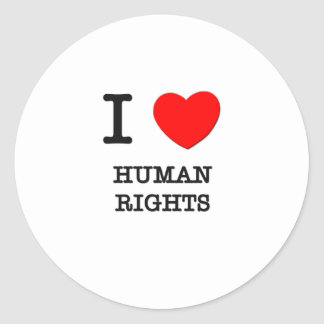 I Love Human Rights Classic Round Sticker
