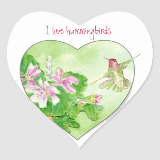 I love Hummingbirds, Bird Collection Heart Sticker