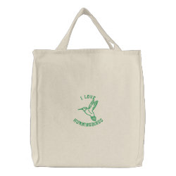 I Love Hummingbirds Embroidered Tote Bag