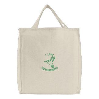 I Love Hummingbirds Embroidered Tote Bag