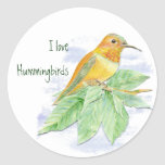 I love Hummingbirds, Original Watercolor Bird Round Stickers